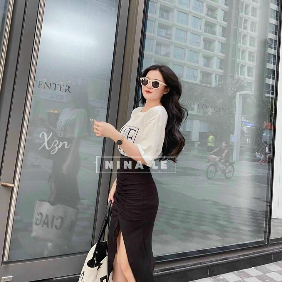 Mặc gì đẹp: Xinh xinh với Set chân váy xẻ tà áo rút dây áo in chữ dễ thương cho nàng dự tiệc, dạo phố Zashopp