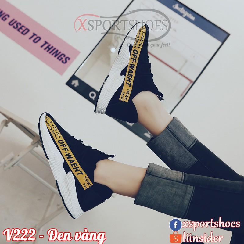 [ORDER] Giày Ulzzang thể thao nữ OFF WHITE V222 thoáng khí màu đen đai đỏ, trắng và vàng