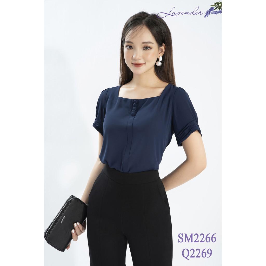 Mặc gì đẹp: Xinh tươi với Áo Sơ mi nữ cổ vuông cúc bọc sang chảnh cho các nàng công sở Hàng xưởng VN chất đẹp