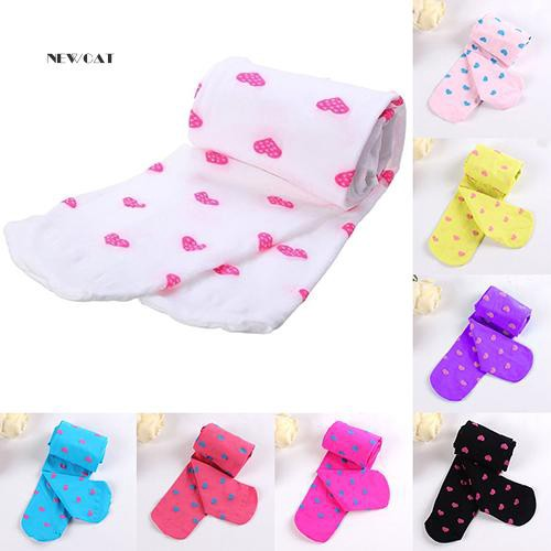 Children Girls Candy Color Heart Ballet Dance Opaque Footed Tights Pantyhose