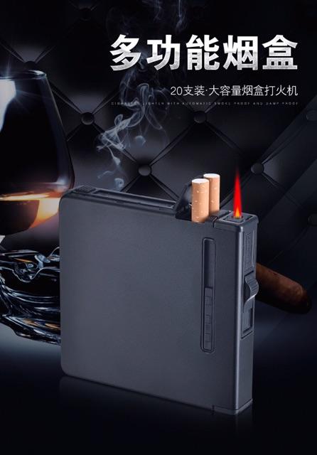 Hộp đựng thuốc lá đa năng kèm bật lửa điện hộp kim loại cao cấp
