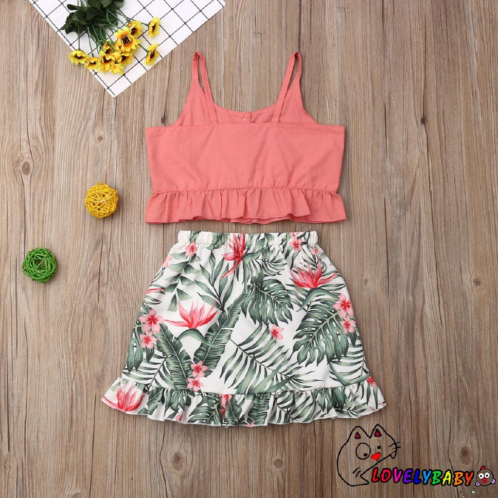 ♛❀♛Infant Kids Baby Girls Summer Clothes Bow Tops Flower Skirts Dress Outfits Set