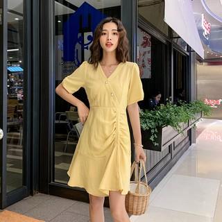 Đầm Ngắn Tay Xếp Li Xinh Xắn Theo Phong Cách Hàn Quốc / Size M-4xl