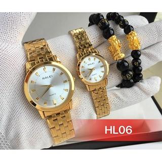 đồng hồ nam nữ Halei mặt trắng HLL06 chống nước chống xước,tặng kèm vòng tì hưu