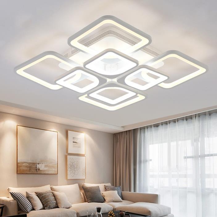 Đèn trần trang trí phòng khách LED 8 cánh vuông 3 chế độ màu có điều khiển lighthouse