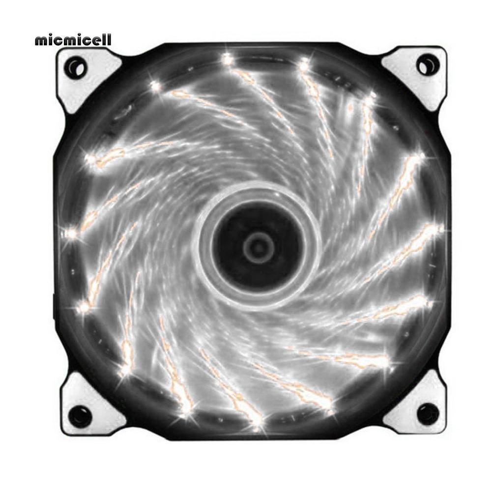 mic☩_120mm 15 LEDs Light Quiet 3/4 Pin Computer Case Cooling Fan Cooler Heatsink