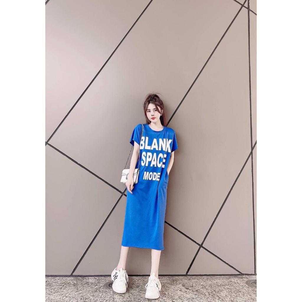 Mặc gì đẹp: Dễ chịu với Đầm Bầu Suông Dáng Dài Váy Dáng Suông Nữ Cổ Tròn Họa Tiết Chữ Blank Chất Thun Cotton