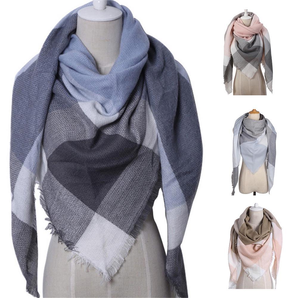 Warm Winter Triangle Scarf Women Shawl Cashmere Autumn Plaid Wool Wrap Nice