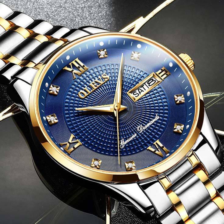 Đồng hồ nam OLEVS chính hãng Fullbox, dây thép đúc mạ kim, mặt đính đá sang trọng - OLES