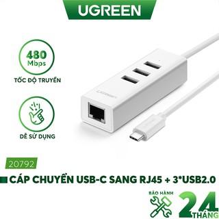 Cáp chuyển đổi USB type C sang Ethernet RJ45 + Hub 3 cổng USB 2.0 dài 30cm Ugreen 20792 thumbnail