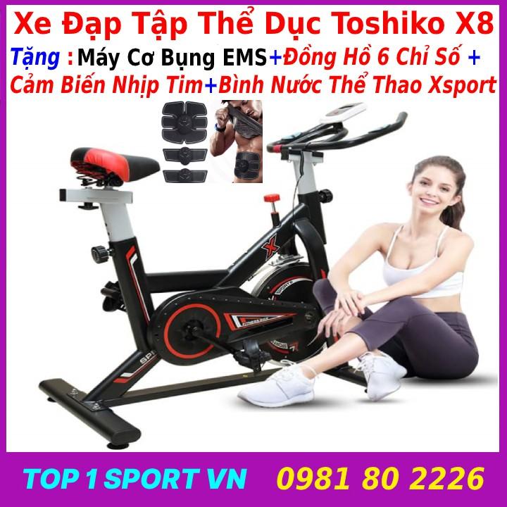 Xe đạp thể dục toshiko x8 tặng bình nước + đồng hồ + cảm biến nhịp tim + Máy cơ bụng EMS - bảo hành 36 tháng
