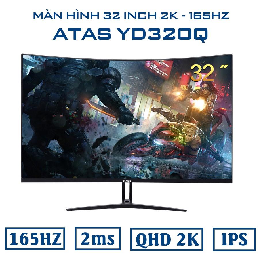 Màn hình 32 inch cong ATAS YS320Q chuyên game - Tần số quét 165Hz - Tấm nền IPS - Độ phân giải 2k - Phiên bản 2021