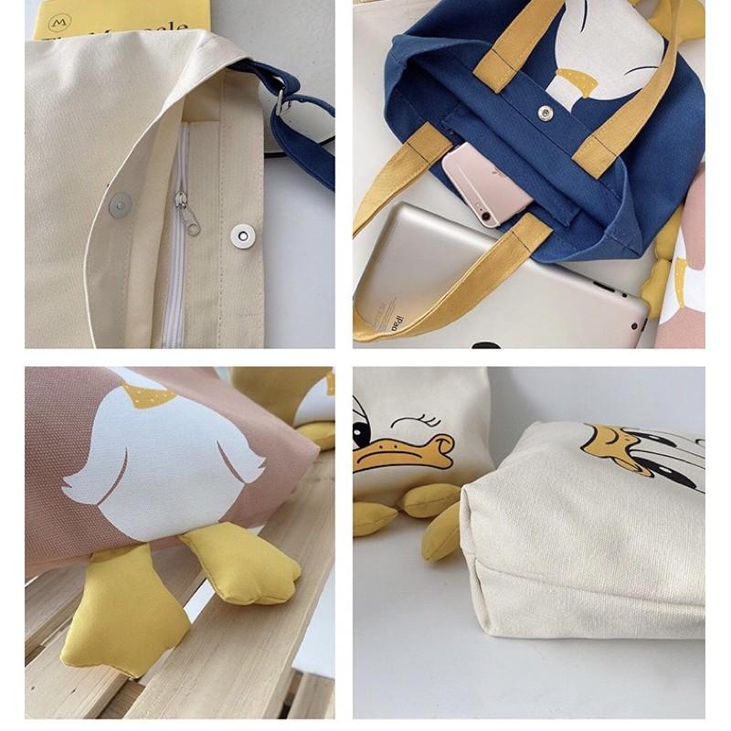 Túi Vải Đeo Vai Phong Cách Hàn Quốc Con Vịt Dễ Thương Cực Hot
