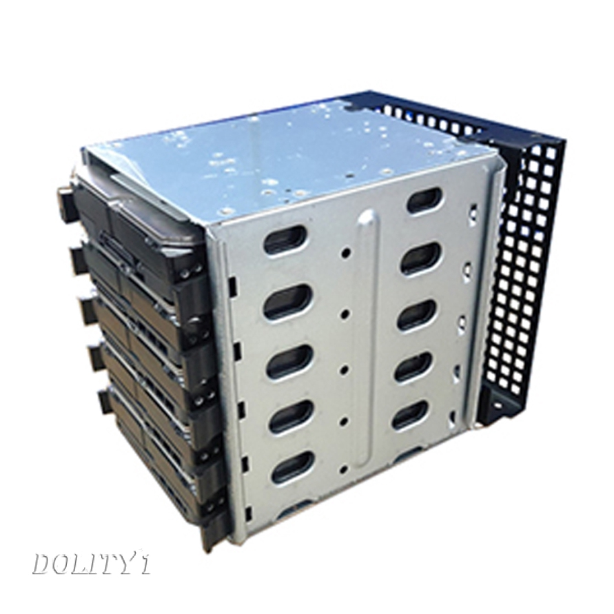 Aluminum Alloy Hard Drive Enclosure Case Chassis Cages for 5x 3.5\'\' SATA HDD