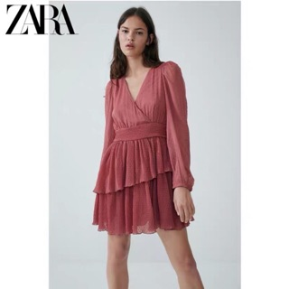 Đầm Zara chiffon voan dập ly siêu xịn
