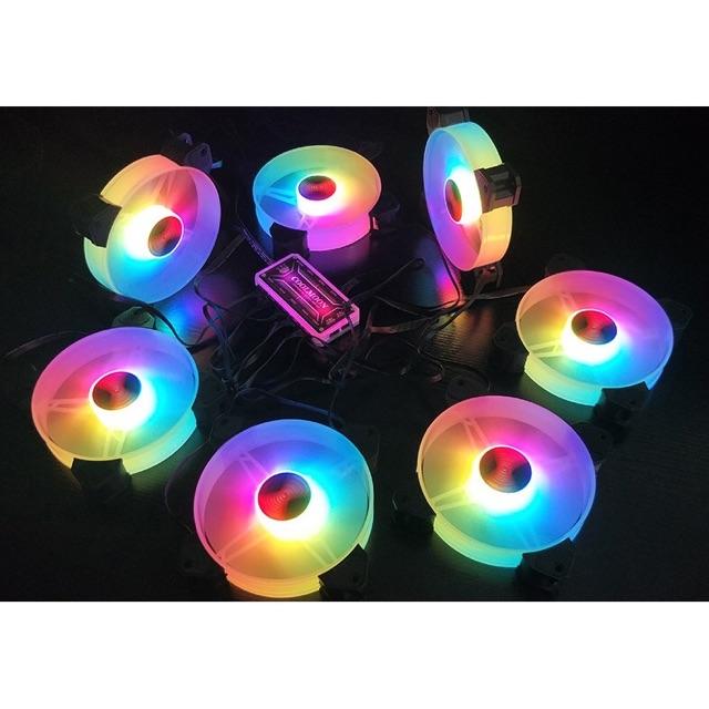 [Mã 267ELSALE hoàn 7% đơn 300K] Bộ 5 Fan +Hub + Remote Coolmoon Y1 đẹp xuất sắc