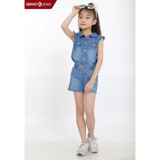 Áo sơ mi jeans cộc tay bé gái NA323J563 GENVIET thumbnail