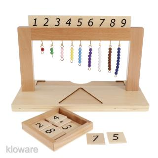 Kids Early Learning Montessori Materials Toy 1-9 Hanging Beads Frame Numbers