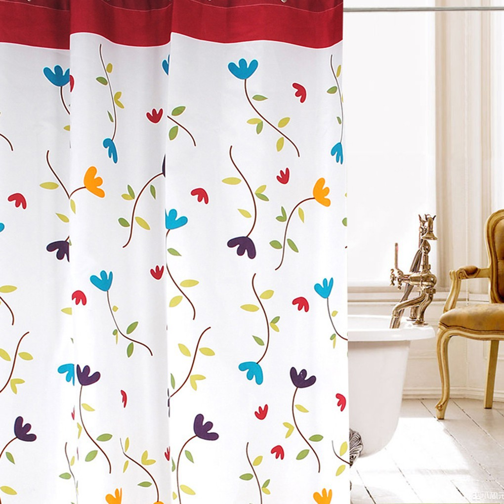 Rèm cửa Polyester họa tiết hoa lan kháng nước chống nấm mốc dùng cho nhà tắm tiện