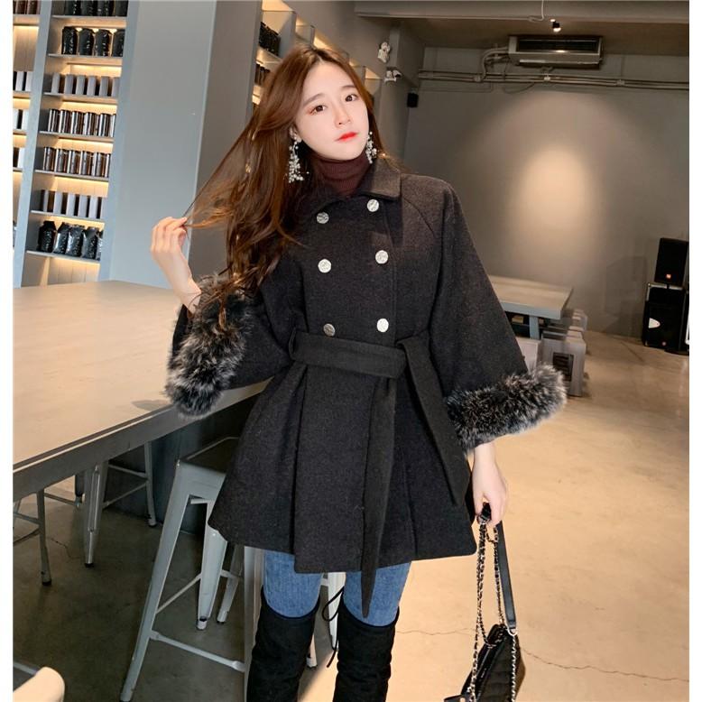 Áo khoác dạ mịn cổ tay viền lông hàng Quảng Châu