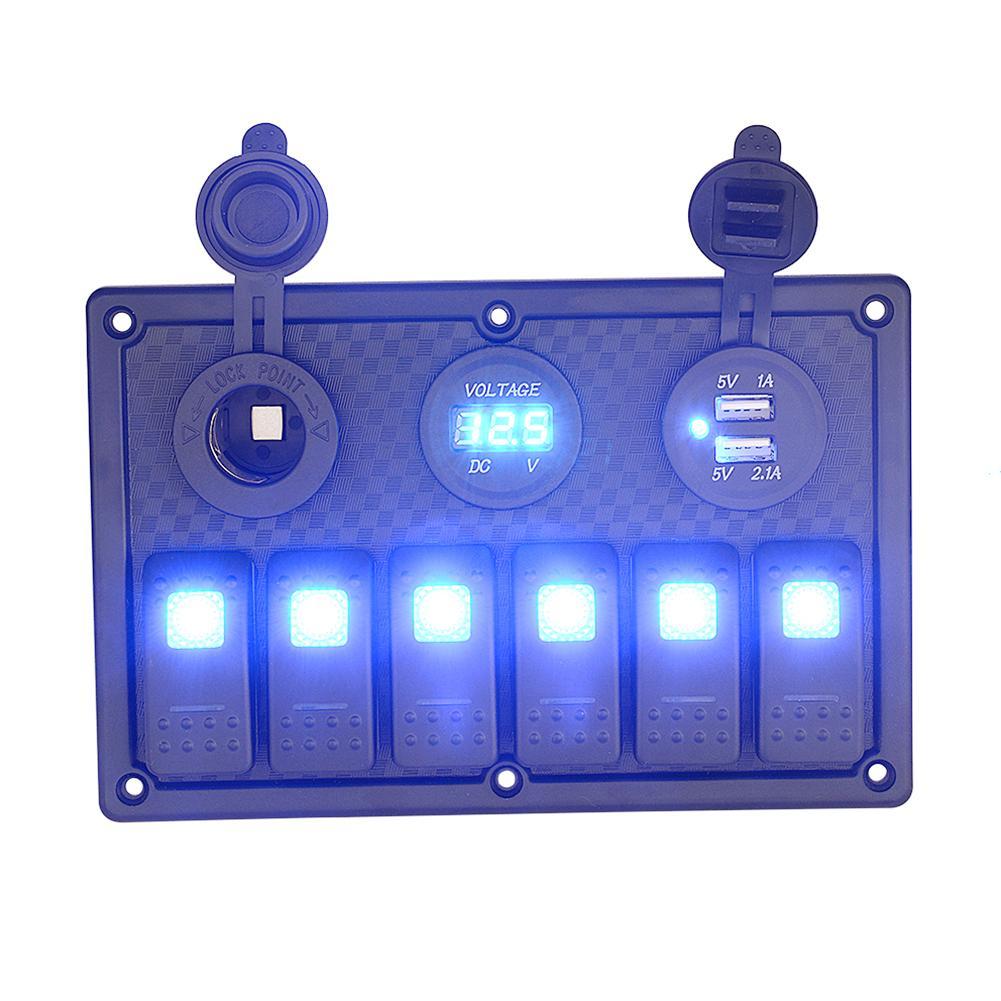 6 Gang LED Car Rocker Switch Panel Waterproof Circuit