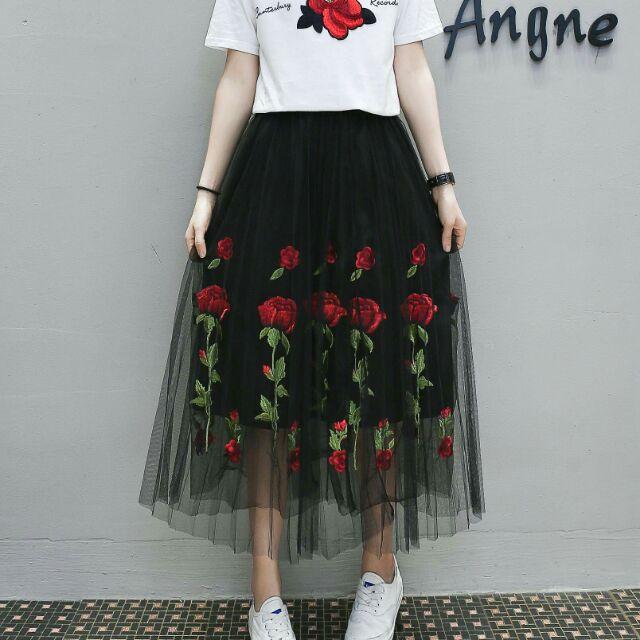 Chân váy quảng châu ren hoa hồng