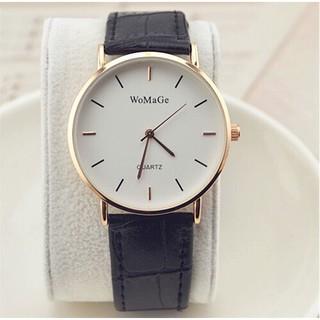 (Giá sỉ) Đồng hồ thời trang nam nữ Womage viền bạc dây da mẫu mới tuyệt đẹp