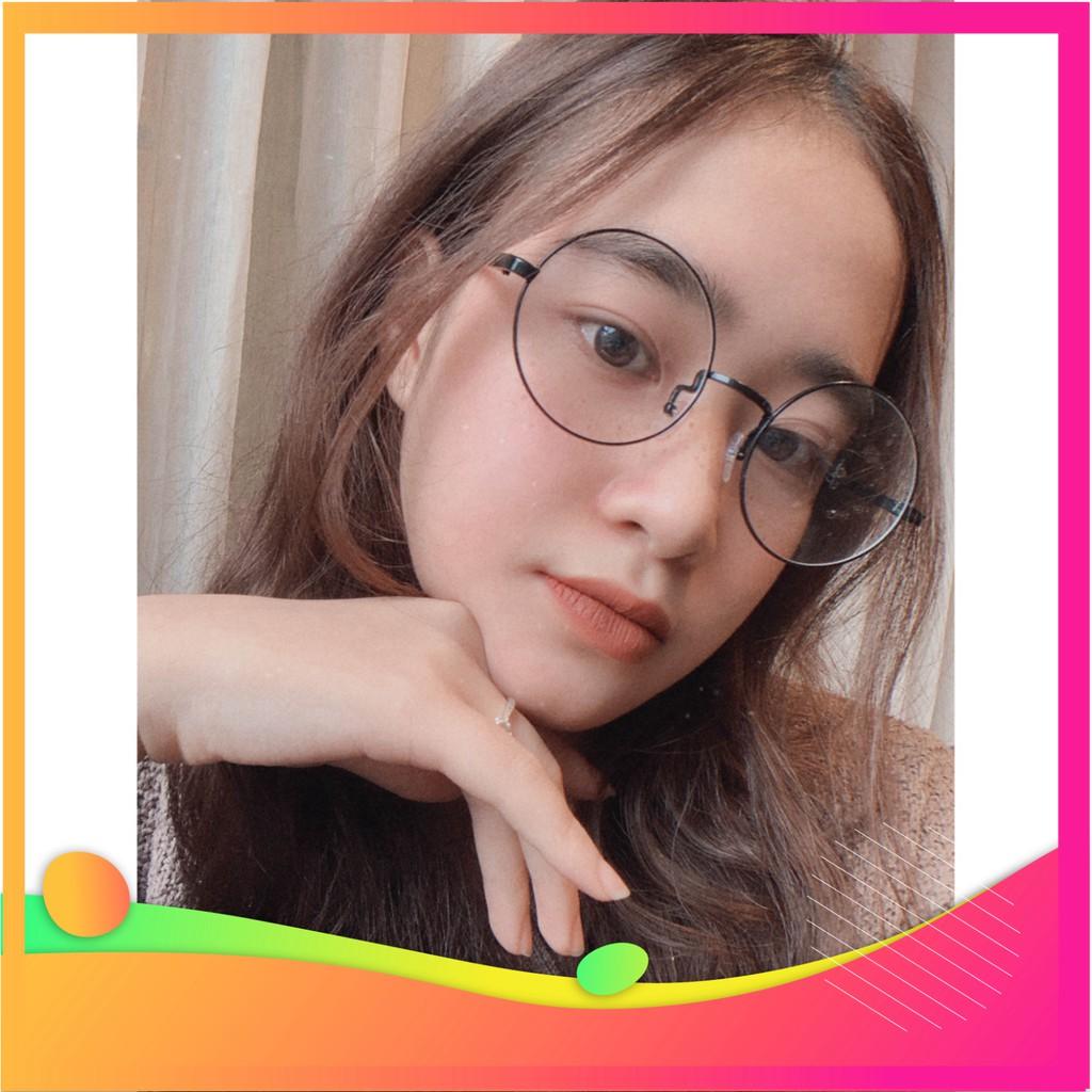 [kinhmatchoban] Gọng kính cận kim loại cho mặt vuông 4U, mắt tròn Nobita chống bụi hoặc lắp cận, màu đen – 8890