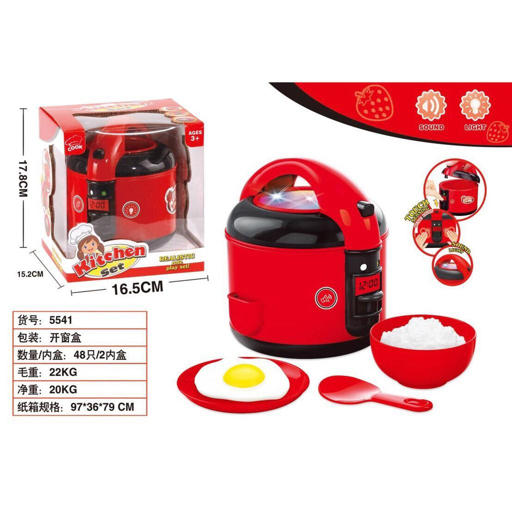 Bộ đồ chơi nồi cơm, đồ chơi nhà bếp cao cấp dùng pin có nhạc đèn (kèm pin)
