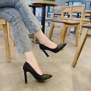 [Mã FASHIONRNK giảm 10K đơn 50K] Giày cao gót đen xếp lụa 9p sang chảnh mã H35 thumbnail