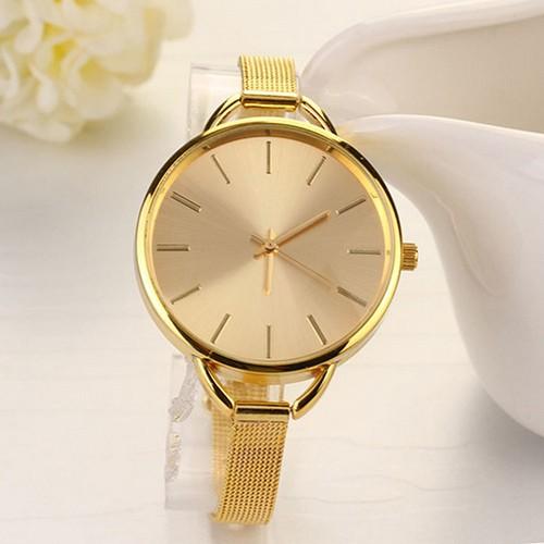 Đồng hồ đeo tay dây kim loại mỏng mặt tròn thanh lịch thời trang cho nữ