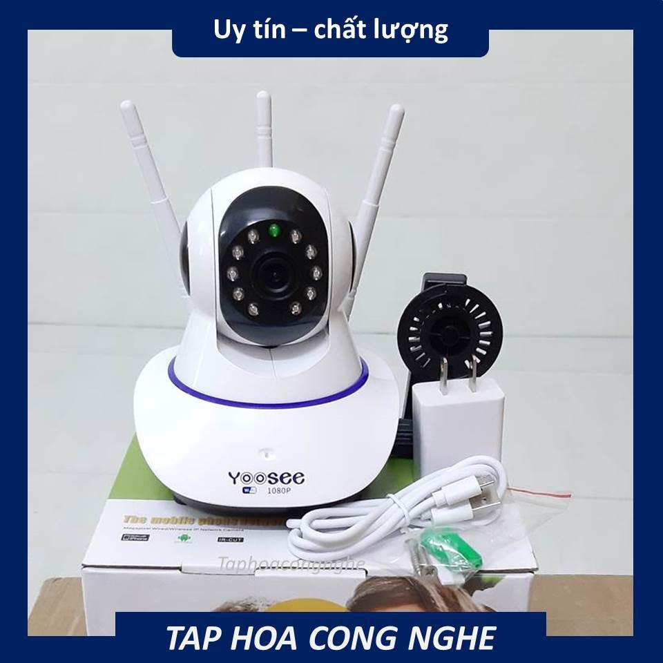(tặng thẻ nhớ 32gb ) Camera ip wifi app yoosee 3 râu 1080P khe thẻ nhớ trên đầu - quan sát trong nhà