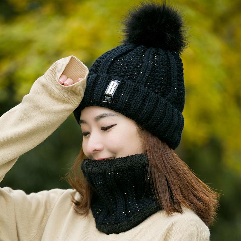 Mũ len kèm khăn choàng giữ ấm kiểu dáng trẻ trung cho nữ (có bán lẻ)