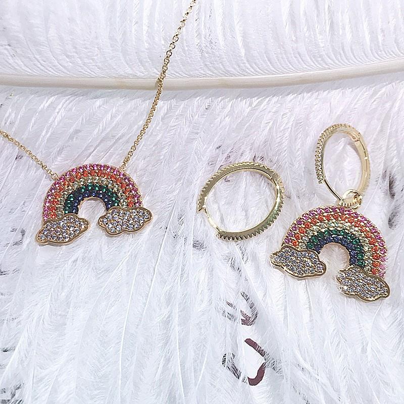 bộ dây chuyền+bông tai mạ bạc 925 hình cầu vồng xinh xắn