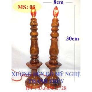 Đèn bàn thờ điện – Đèn lớn – Gỗ tràm MS 03