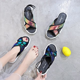slip on women shoes\nSports platform slippers women wearing summer 2019 new fashion wild Korean students Hong Kong style
