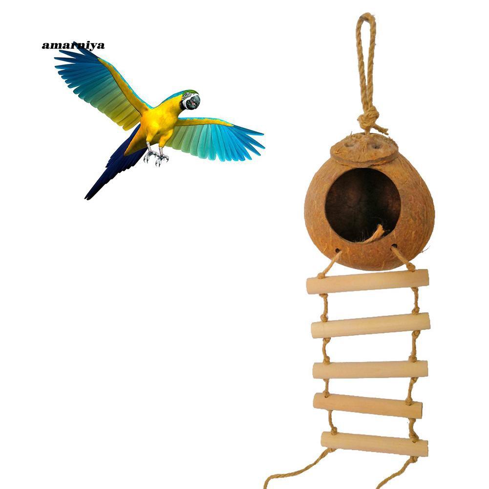AMA♥Coconut Shell Hammock Parrot Bird Pet Nest Hanging Ladder Summer Bed Cage Decor