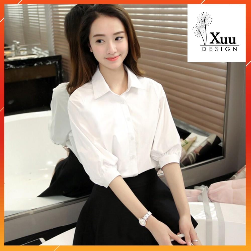 Áo Sơ Mi Nữ trắng tay bồng Xuu Design 💖 Freeship - Ảnh Thật💖 Sơ mi kiểu [ SMK10]