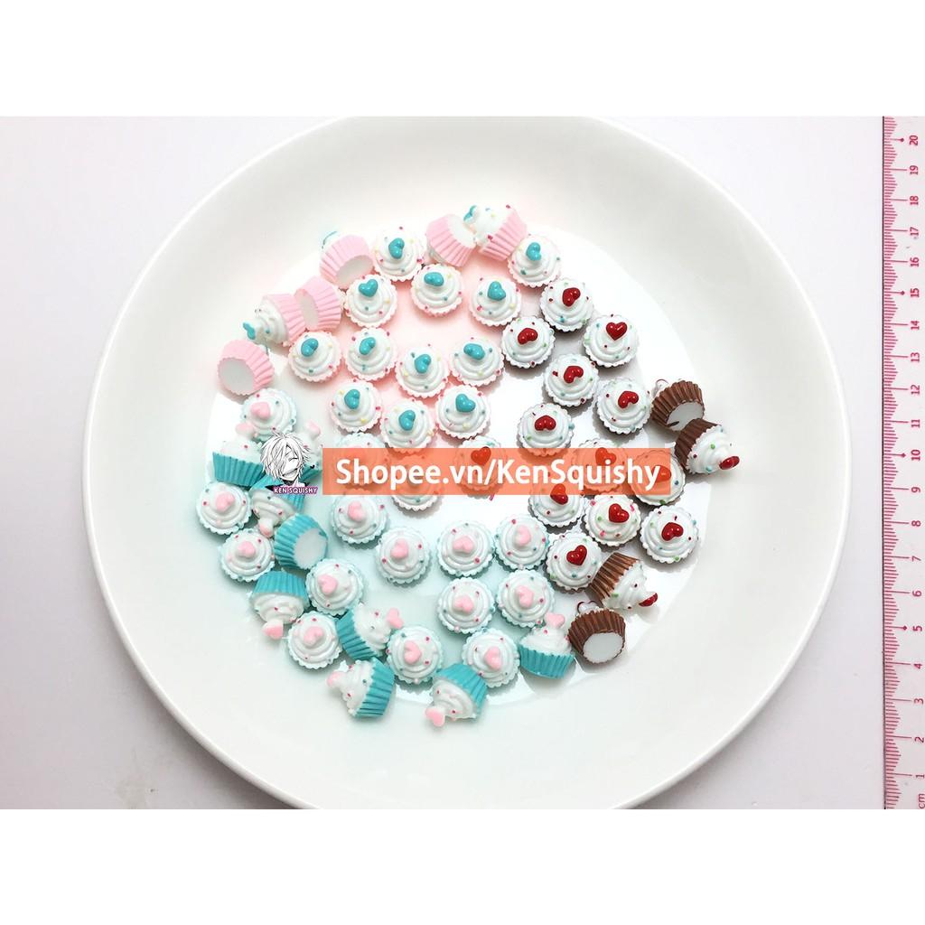 Charm Bánh Cupcake Tình Yêu Ngẫu Nhiên Nguyên Liệu Trang Trí Slime