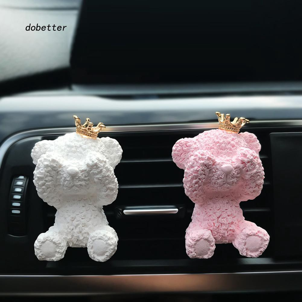 DOBT_Cute Crown Bear Aromatherapy Clip Vehicle Air Outlet Freshen Perfume Decoration