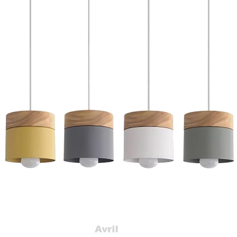Đèn led treo trần phong cách bắc âu hình trụ bằng gỗ dễ điều chỉnh trang trí phòng bếp/quán bar/cà phê