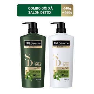 Combo Dầu gội 640g và Dầu Xả 620g Tresemmé Salon Detox gừng và trà xanh Detox tóc chắc khỏe