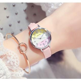 [SÀNH ĐIỆU] Đồng hồ nữ dây da Hloios h4 phối 3 màu mặt cực sang chảnh