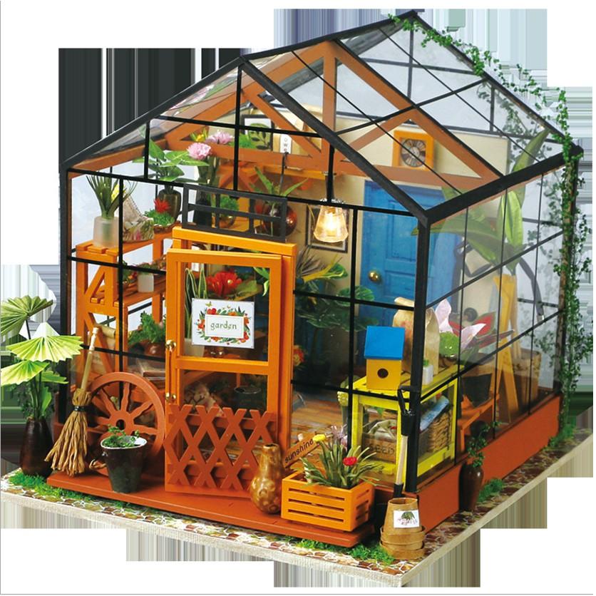 Mô hình nhà búp bê DIY cửa hàng hoa trong nhà kính Florist phong cách Hanabusa (có mica che bụi)