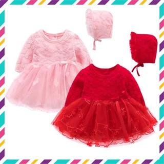 [Mã FASHIONRNK giảm 10K đơn 50K] Sét váy công chúa hồng thêu hoa đầy tháng thôi nôi cho bé gái (kèm mũ bèo tiểu thư) thumbnail