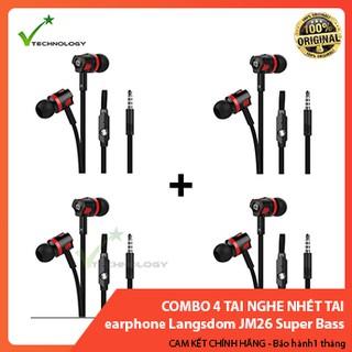 Combo 4 Tai nghe nhét tai earphone Langsdom JM26 Super Bass