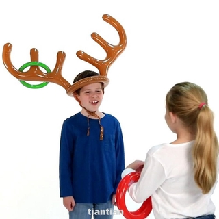 Gift Holiday Faux Antler Funny Santa Inflatable Game Toys