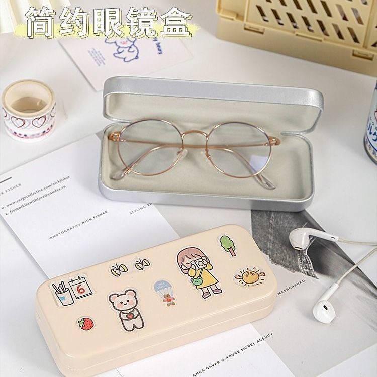 Hộp đựng mắt kính bằng da có gương họa tiết hoạt hình dễ thương