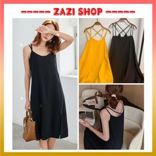 Váy hai dây maxi đan chéo ♥️ Đầm hai dây chất đũi ♥️ Váy 2 dây phong cách quyến rũ – ZaZi HD13