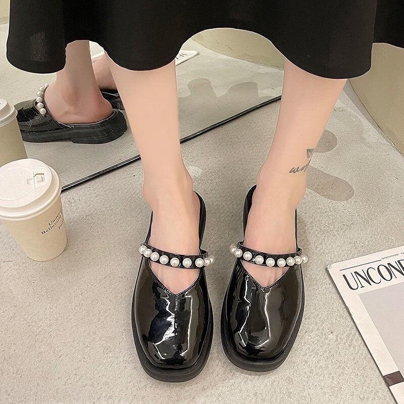 (ảnh+video)giày sục nữ da bóng đính ngọc traiii thời trang